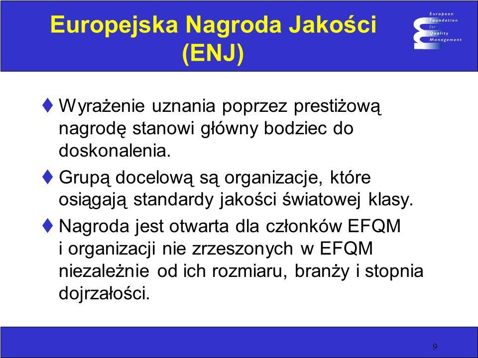 9 Europejska Nagroda Jakości (ENJ) Wyrażenie uznania poprzez prestiżową nagrodę stanowi główny bodziec do doskonalenia. Grupą docelową są organizacje,