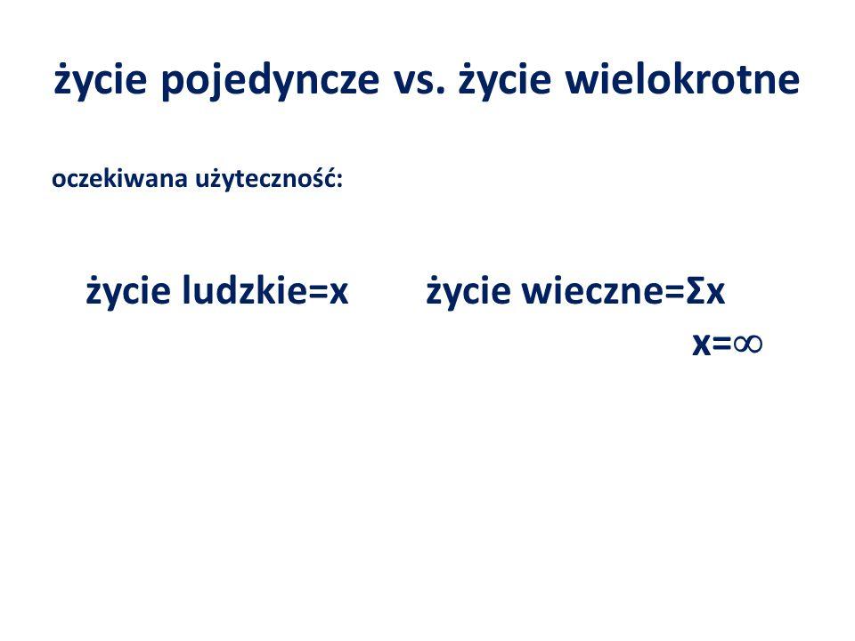 życie pojedyncze vs. życie wielokrotne oczekiwana użyteczność: życie ludzkie=x życie wieczne=Ʃx x=