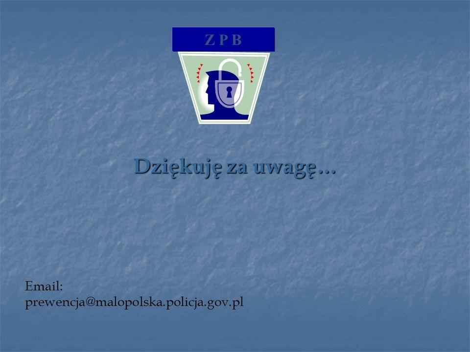 Dziękuję za uwagę… Z P B Email: prewencja@malopolska.policja.gov.pl