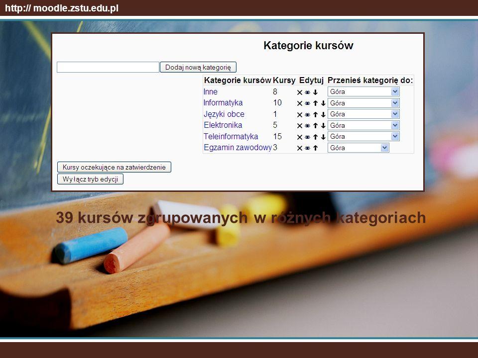 Multimedialne testy sprawdzające wiedzę i umiejętności. http:// moodle.zstu.edu.pl