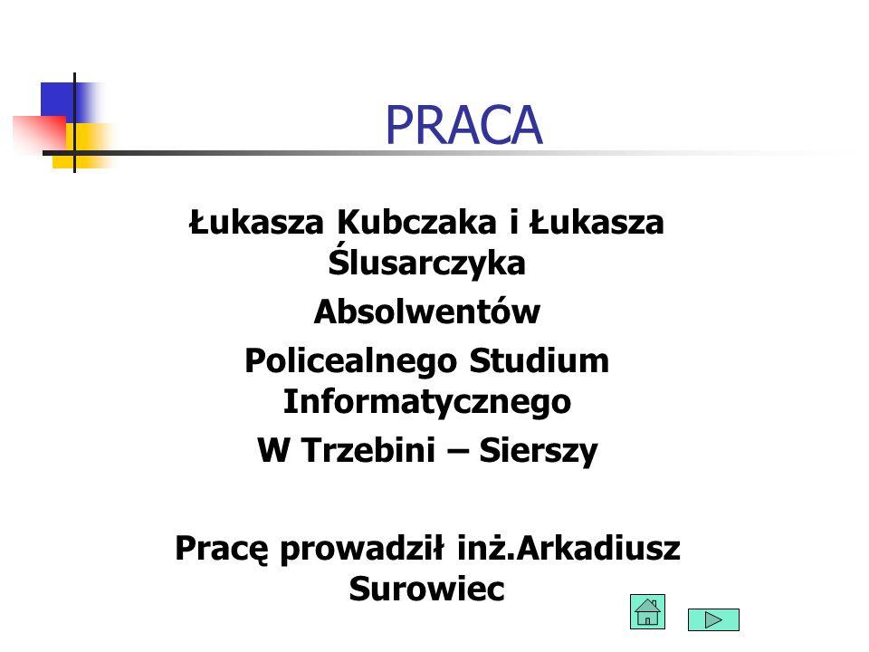 PRACA Łukasza Kubczaka i Łukasza Ślusarczyka Absolwentów Policealnego Studium Informatycznego W Trzebini – Sierszy Pracę prowadził inż.Arkadiusz Surow
