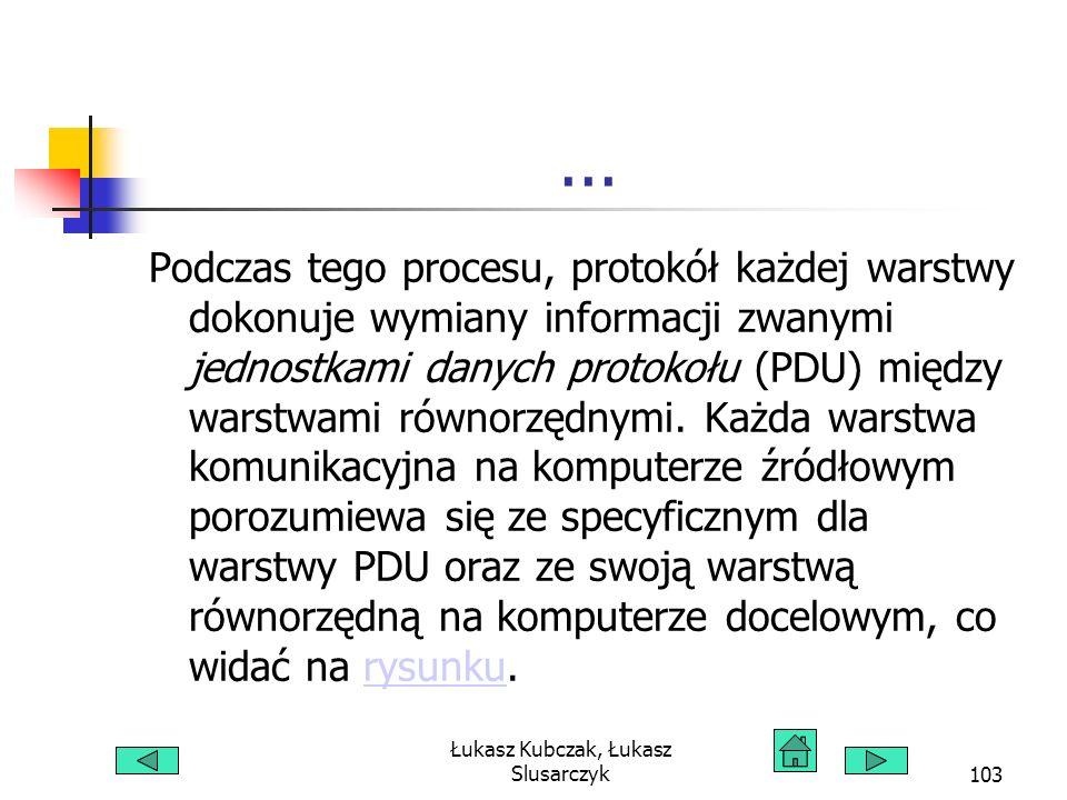 Łukasz Kubczak, Łukasz Slusarczyk103... Podczas tego procesu, protokół każdej warstwy dokonuje wymiany informacji zwanymi jednostkami danych protokołu
