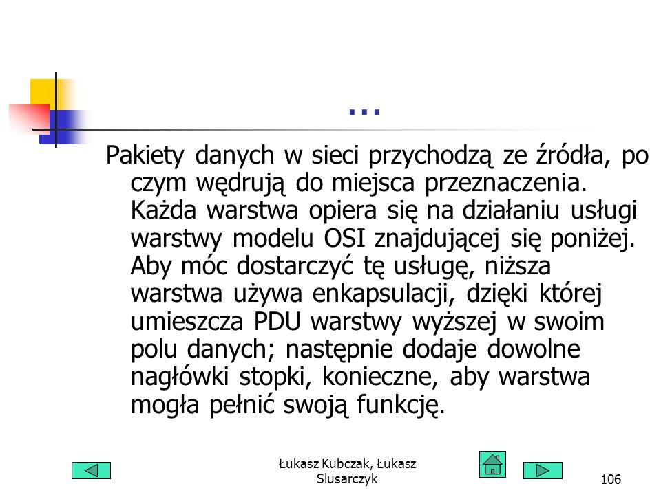 Łukasz Kubczak, Łukasz Slusarczyk106... Pakiety danych w sieci przychodzą ze źródła, po czym wędrują do miejsca przeznaczenia. Każda warstwa opiera si