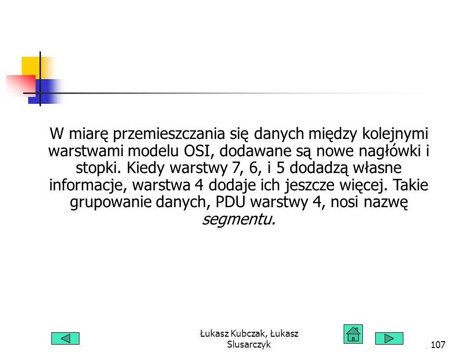 Łukasz Kubczak, Łukasz Slusarczyk107 W miarę przemieszczania się danych między kolejnymi warstwami modelu OSI, dodawane są nowe nagłówki i stopki. Kie