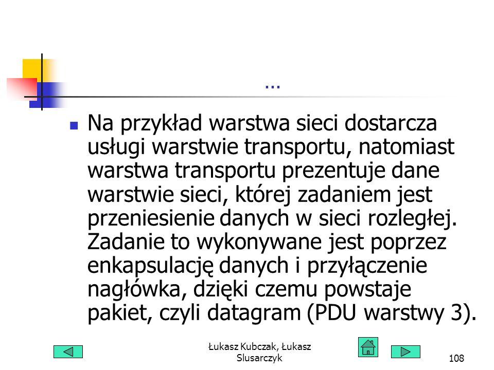 Łukasz Kubczak, Łukasz Slusarczyk108... Na przykład warstwa sieci dostarcza usługi warstwie transportu, natomiast warstwa transportu prezentuje dane w