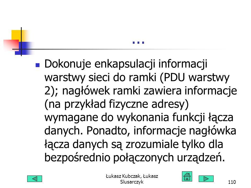 Łukasz Kubczak, Łukasz Slusarczyk110... Dokonuje enkapsulacji informacji warstwy sieci do ramki (PDU warstwy 2); nagłówek ramki zawiera informacje (na
