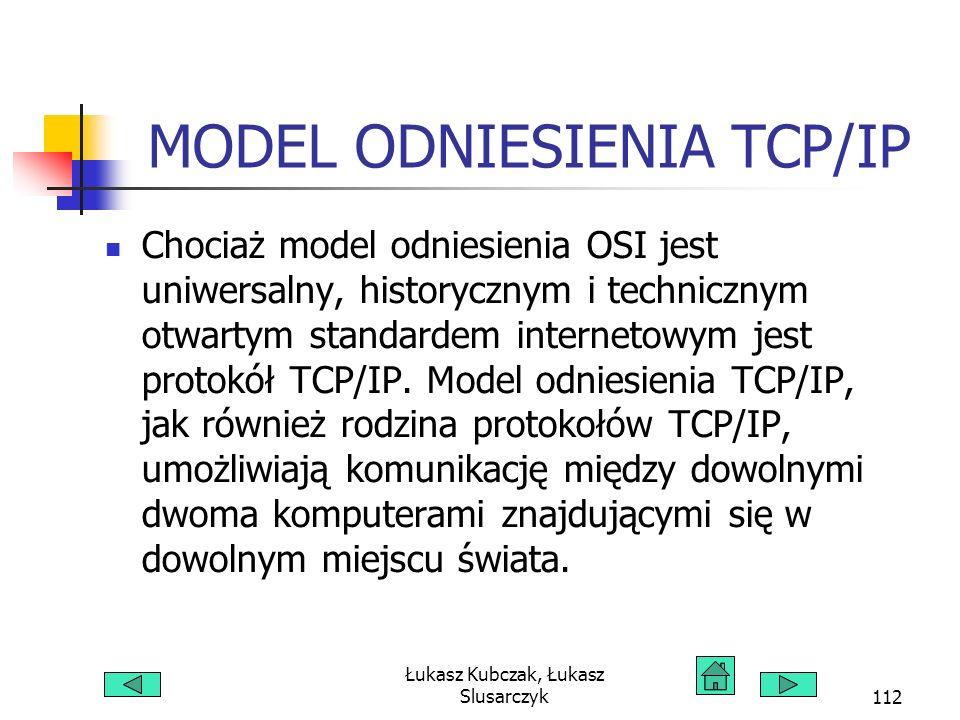 Łukasz Kubczak, Łukasz Slusarczyk112 MODEL ODNIESIENIA TCP/IP Chociaż model odniesienia OSI jest uniwersalny, historycznym i technicznym otwartym standardem internetowym jest protokół TCP/IP.