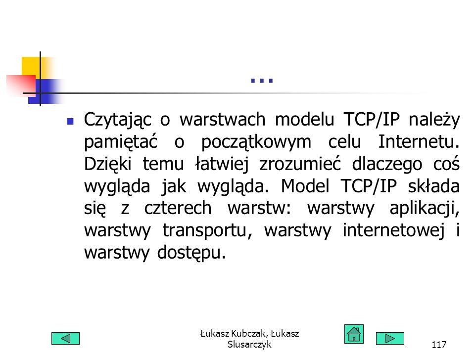 Łukasz Kubczak, Łukasz Slusarczyk117... Czytając o warstwach modelu TCP/IP należy pamiętać o początkowym celu Internetu. Dzięki temu łatwiej zrozumieć