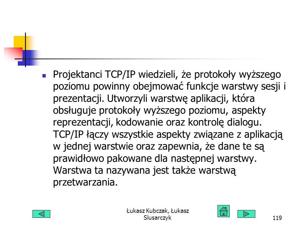 Łukasz Kubczak, Łukasz Slusarczyk119 Projektanci TCP/IP wiedzieli, że protokoły wyższego poziomu powinny obejmować funkcje warstwy sesji i prezentacji