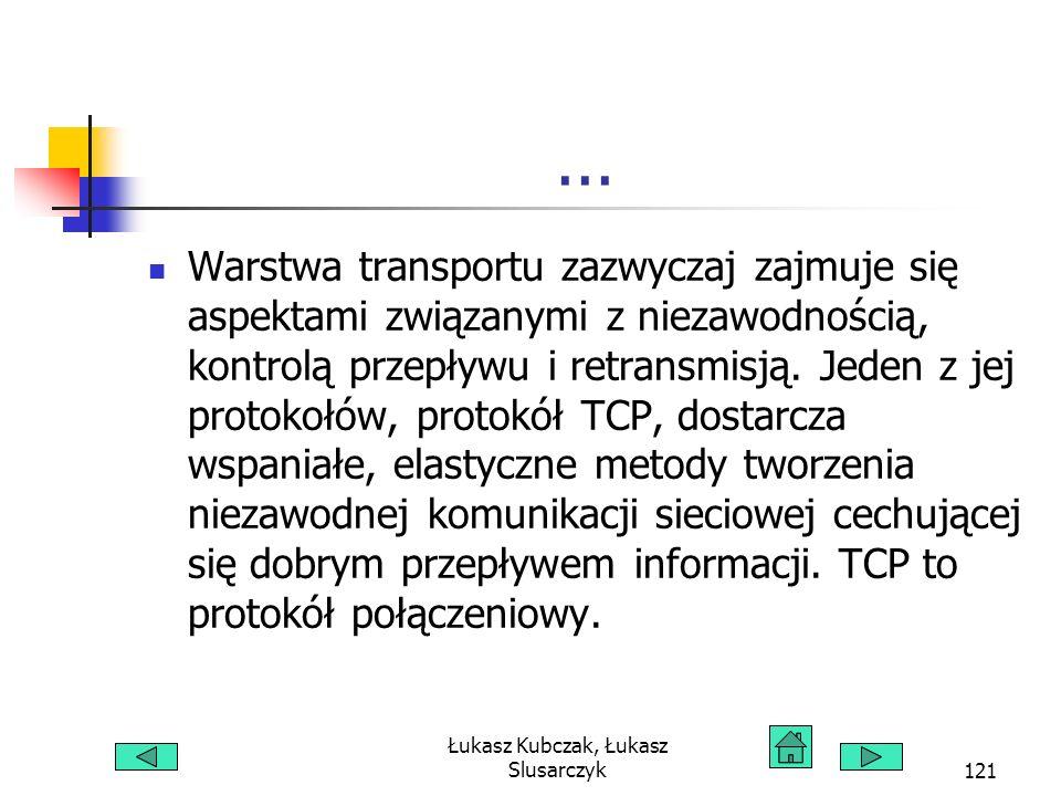 Łukasz Kubczak, Łukasz Slusarczyk121... Warstwa transportu zazwyczaj zajmuje się aspektami związanymi z niezawodnością, kontrolą przepływu i retransmi