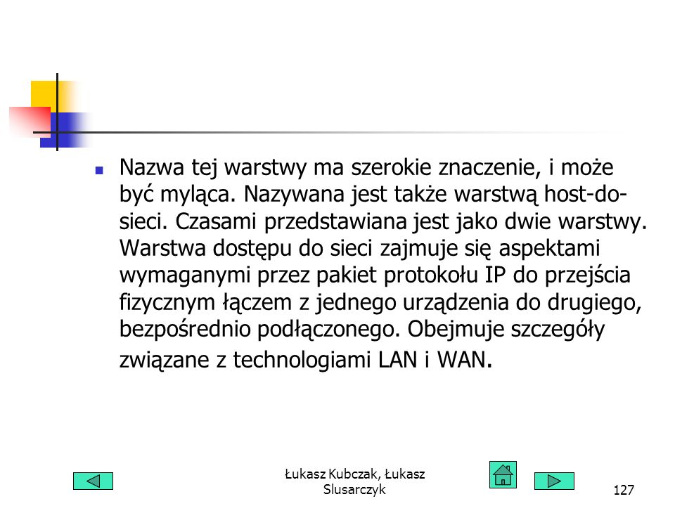 Łukasz Kubczak, Łukasz Slusarczyk127 Nazwa tej warstwy ma szerokie znaczenie, i może być myląca. Nazywana jest także warstwą host-do- sieci. Czasami p