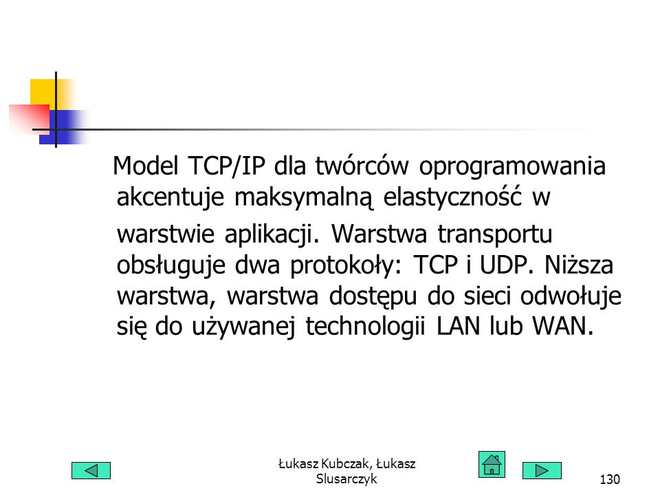 Łukasz Kubczak, Łukasz Slusarczyk130 Model TCP/IP dla twórców oprogramowania akcentuje maksymalną elastyczność w warstwie aplikacji. Warstwa transport