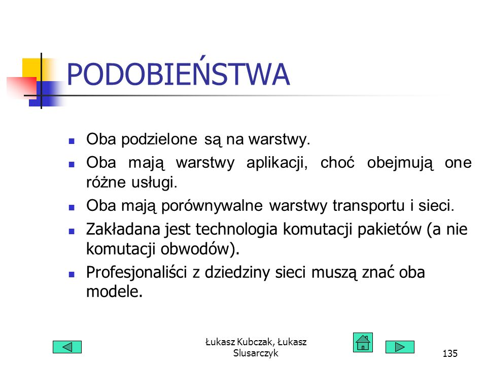 Łukasz Kubczak, Łukasz Slusarczyk135 PODOBIEŃSTWA Oba podzielone są na warstwy. Oba mają warstwy aplikacji, choć obejmują one różne usługi. Oba mają p