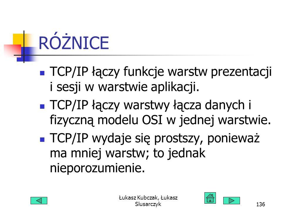 Łukasz Kubczak, Łukasz Slusarczyk136 RÓŻNICE TCP/IP łączy funkcje warstw prezentacji i sesji w warstwie aplikacji. TCP/IP łączy warstwy łącza danych i