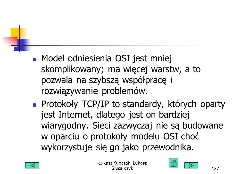 Łukasz Kubczak, Łukasz Slusarczyk137 Model odniesienia OSI jest mniej skomplikowany; ma więcej warstw, a to pozwala na szybszą współpracę i rozwiązywanie problemów.