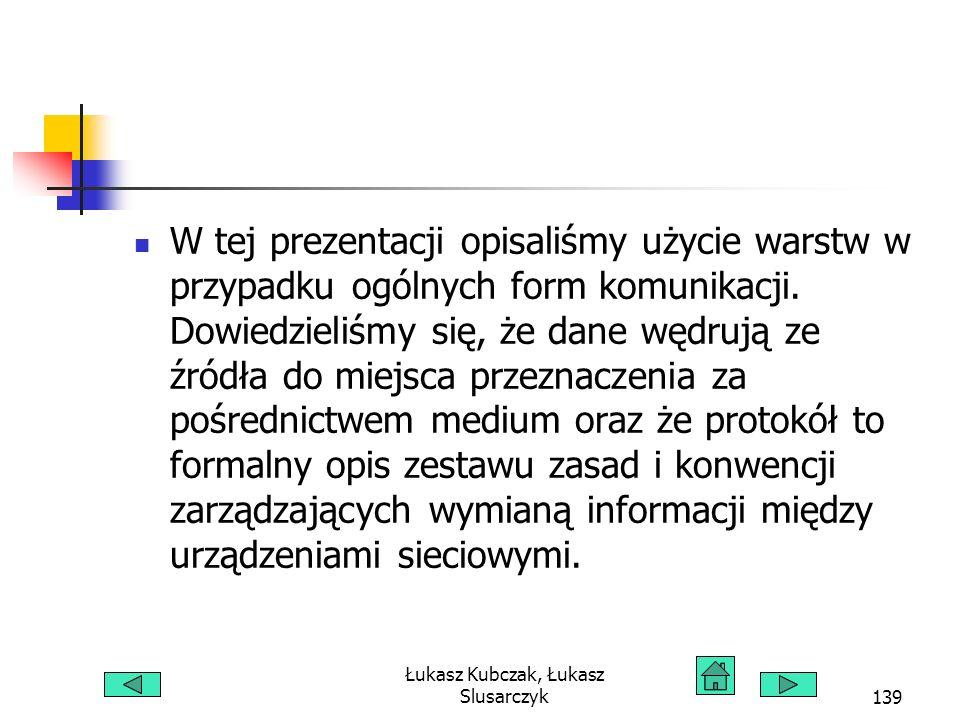 Łukasz Kubczak, Łukasz Slusarczyk139 W tej prezentacji opisaliśmy użycie warstw w przypadku ogólnych form komunikacji. Dowiedzieliśmy się, że dane węd