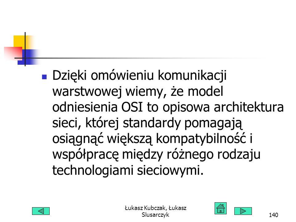 Łukasz Kubczak, Łukasz Slusarczyk140 Dzięki omówieniu komunikacji warstwowej wiemy, że model odniesienia OSI to opisowa architektura sieci, której sta