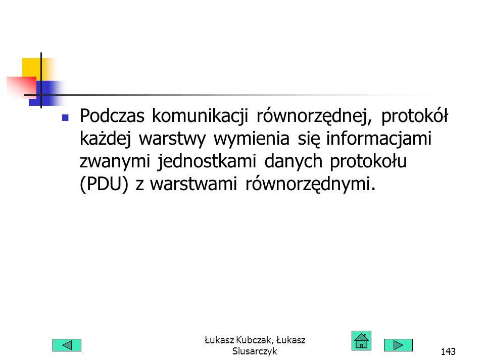 Łukasz Kubczak, Łukasz Slusarczyk143 Podczas komunikacji równorzędnej, protokół każdej warstwy wymienia się informacjami zwanymi jednostkami danych protokołu (PDU) z warstwami równorzędnymi.