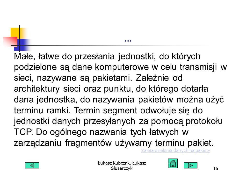 Łukasz Kubczak, Łukasz Slusarczyk16... Małe, łatwe do przesłania jednostki, do których podzielone są dane komputerowe w celu transmisji w sieci, nazyw