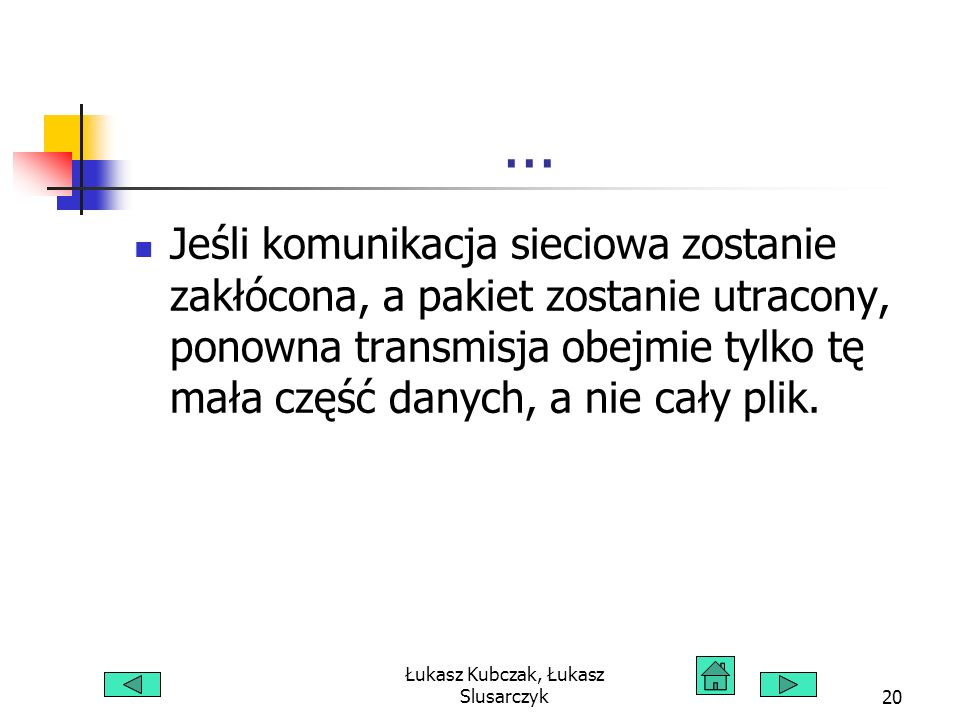 Łukasz Kubczak, Łukasz Slusarczyk20... Jeśli komunikacja sieciowa zostanie zakłócona, a pakiet zostanie utracony, ponowna transmisja obejmie tylko tę