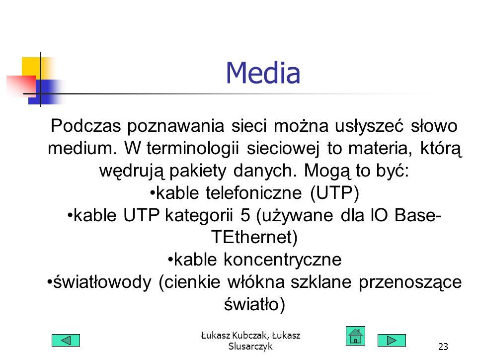 Łukasz Kubczak, Łukasz Slusarczyk23 Media Podczas poznawania sieci można usłyszeć słowo medium. W terminologii sieciowej to materia, którą wędrują pak