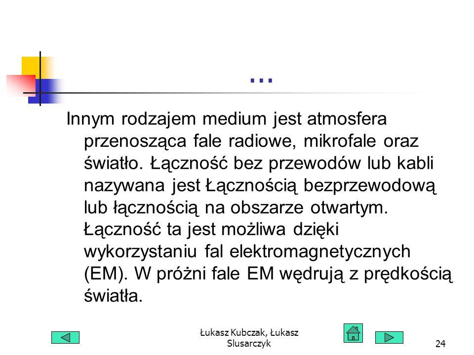 Łukasz Kubczak, Łukasz Slusarczyk24... Innym rodzajem medium jest atmosfera przenosząca fale radiowe, mikrofale oraz światło. Łączność bez przewodów l