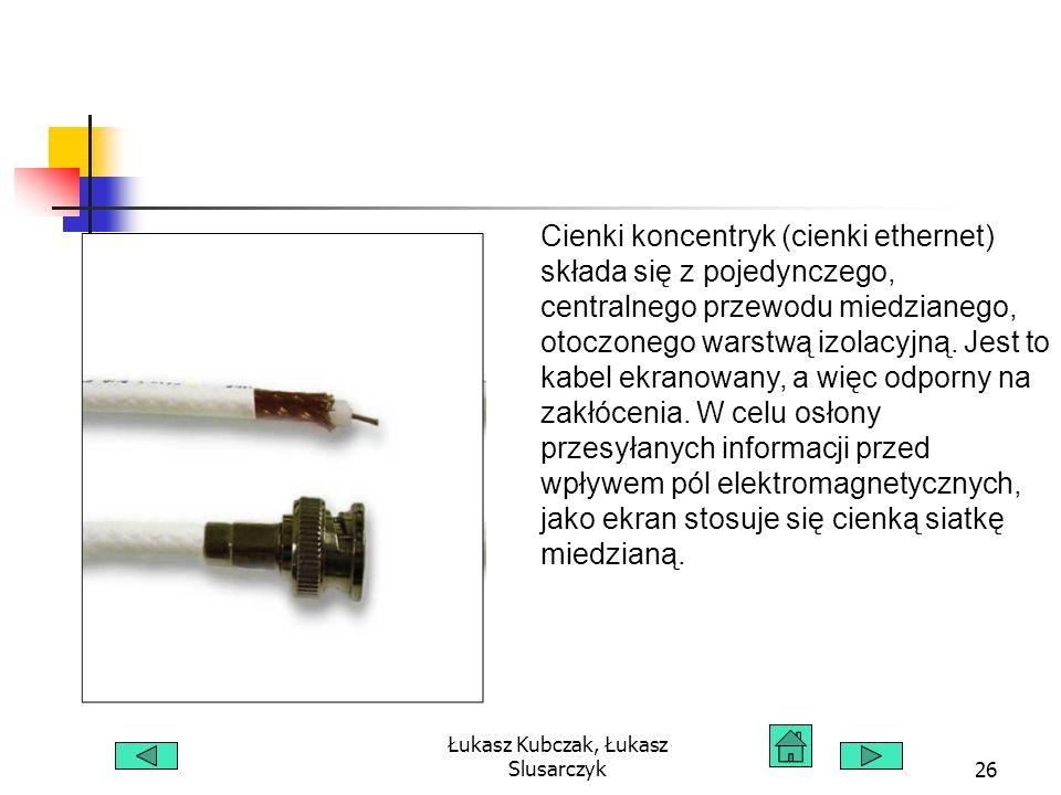 Łukasz Kubczak, Łukasz Slusarczyk26 Cienki koncentryk (cienki ethernet) składa się z pojedynczego, centralnego przewodu miedzianego, otoczonego warstw