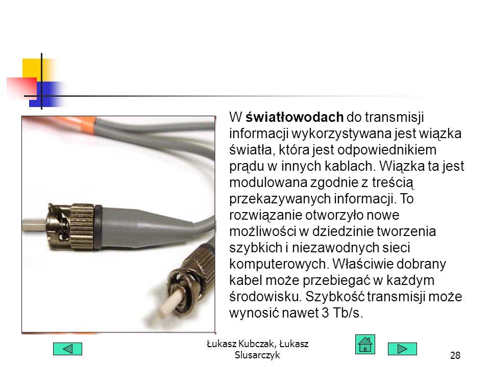 Łukasz Kubczak, Łukasz Slusarczyk28 W światłowodach do transmisji informacji wykorzystywana jest wiązka światła, która jest odpowiednikiem prądu w innych kablach.