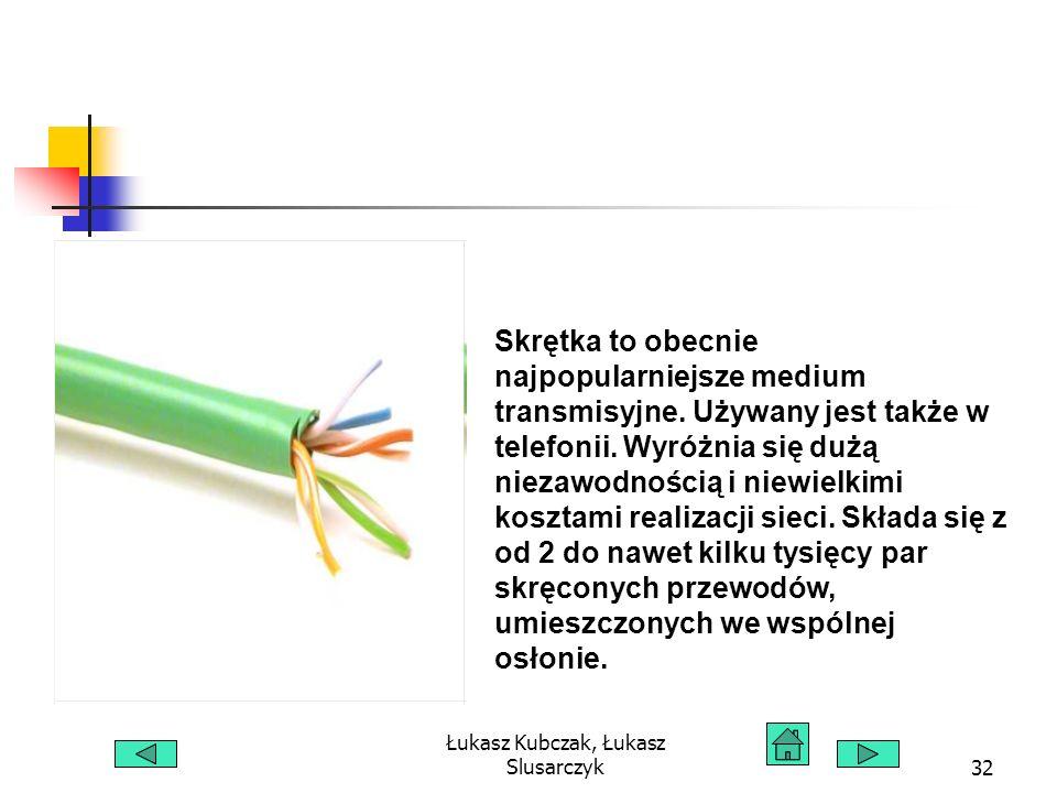 Łukasz Kubczak, Łukasz Slusarczyk32 Skrętka to obecnie najpopularniejsze medium transmisyjne.