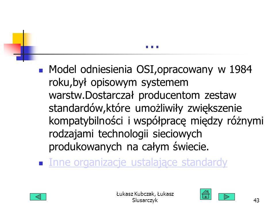 Łukasz Kubczak, Łukasz Slusarczyk43... Model odniesienia OSI,opracowany w 1984 roku,był opisowym systemem warstw.Dostarczał producentom zestaw standar