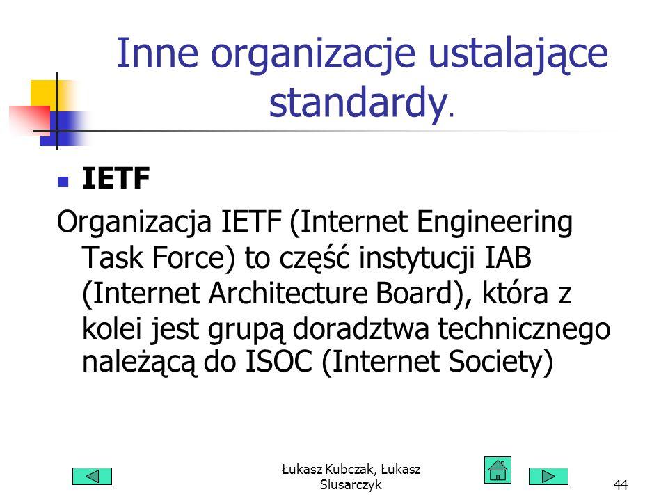 Łukasz Kubczak, Łukasz Slusarczyk44 Inne organizacje ustalające standardy. IETF Organizacja IETF (Internet Engineering Task Force) to część instytucji