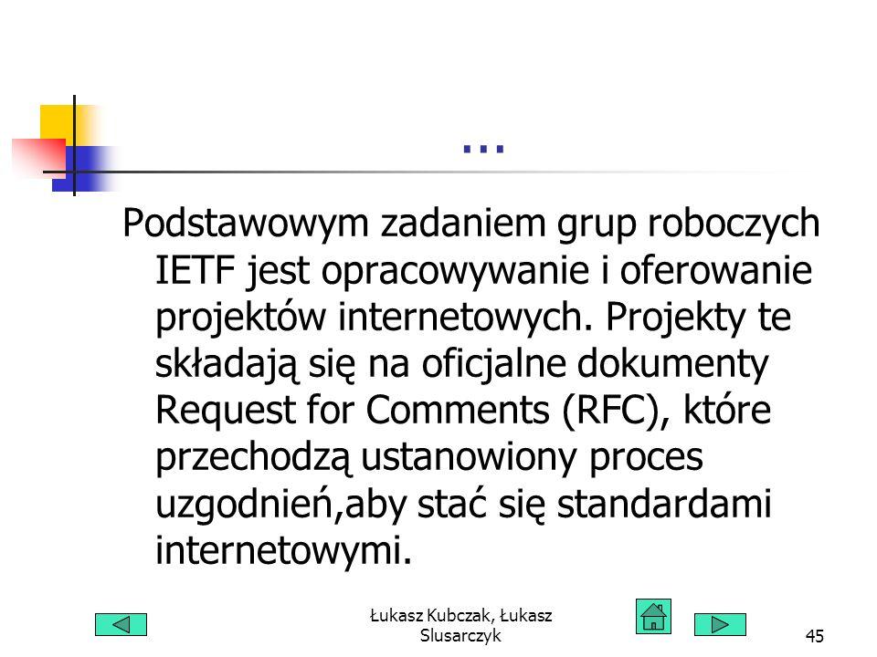 Łukasz Kubczak, Łukasz Slusarczyk45... Podstawowym zadaniem grup roboczych IETF jest opracowywanie i oferowanie projektów internetowych. Projekty te s