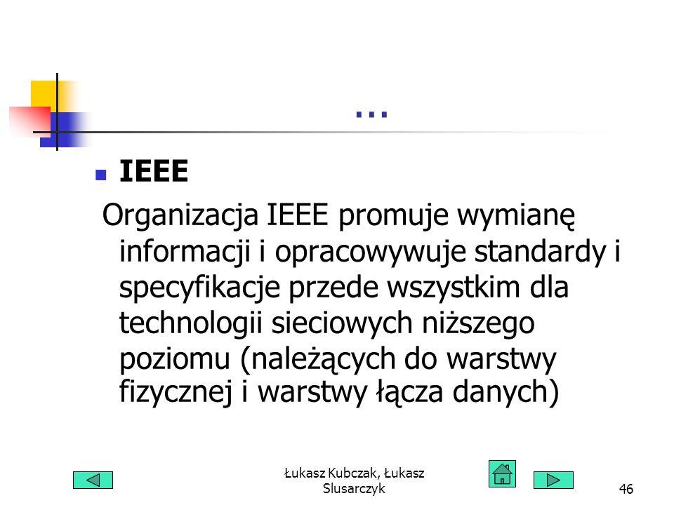 Łukasz Kubczak, Łukasz Slusarczyk46... IEEE Organizacja IEEE promuje wymianę informacji i opracowywuje standardy i specyfikacje przede wszystkim dla t