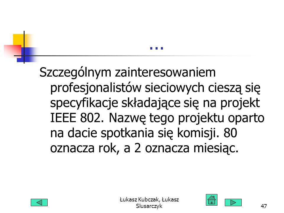 Łukasz Kubczak, Łukasz Slusarczyk47... Szczególnym zainteresowaniem profesjonalistów sieciowych cieszą się specyfikacje składające się na projekt IEEE