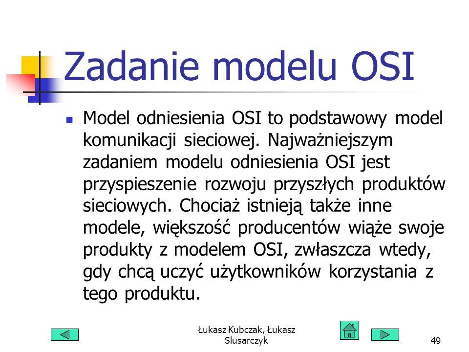 Łukasz Kubczak, Łukasz Slusarczyk49 Zadanie modelu OSI Model odniesienia OSI to podstawowy model komunikacji sieciowej. Najważniejszym zadaniem modelu