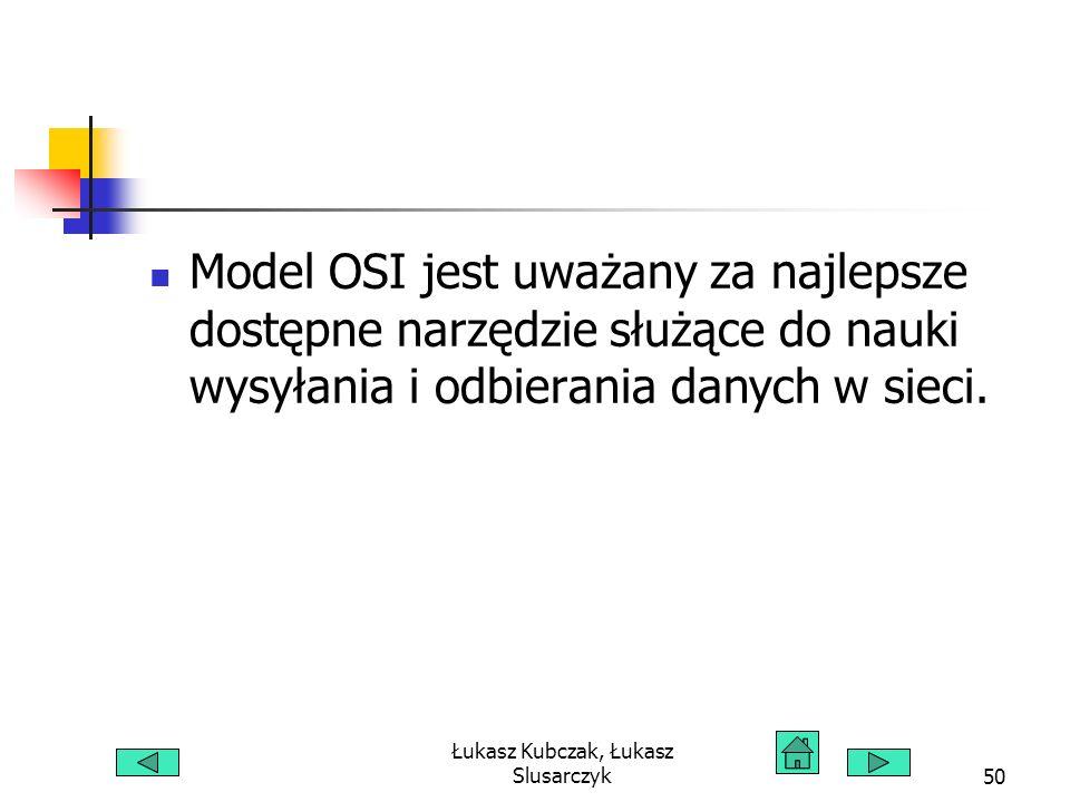 Łukasz Kubczak, Łukasz Slusarczyk50 Model OSI jest uważany za najlepsze dostępne narzędzie służące do nauki wysyłania i odbierania danych w sieci.