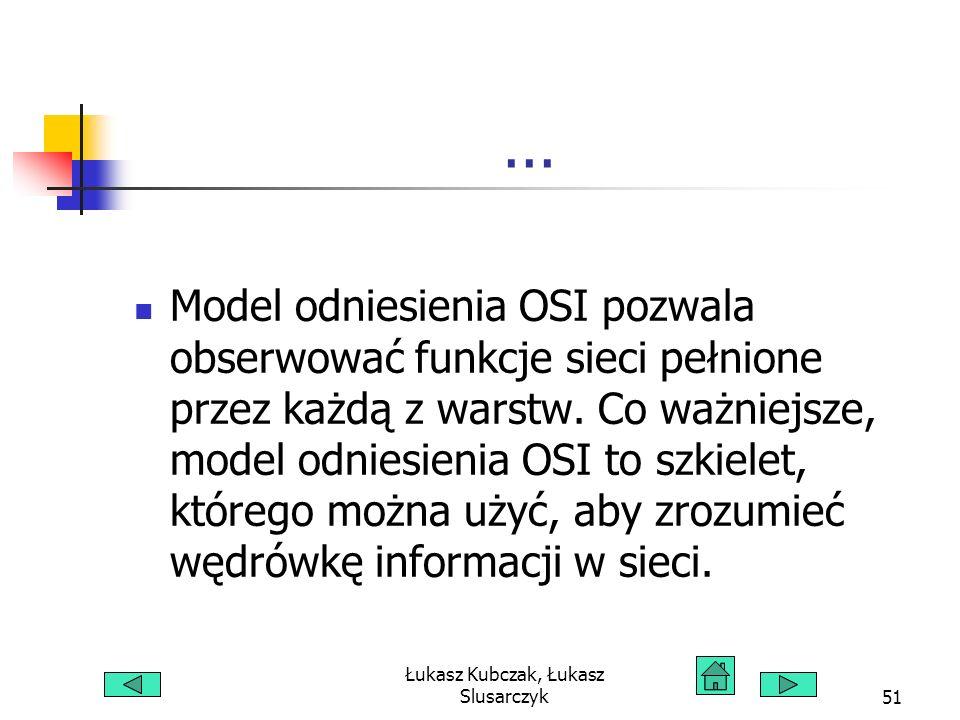 Łukasz Kubczak, Łukasz Slusarczyk51... Model odniesienia OSI pozwala obserwować funkcje sieci pełnione przez każdą z warstw. Co ważniejsze, model odni