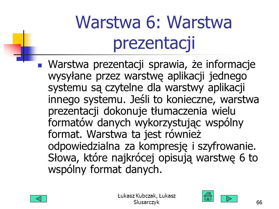 Łukasz Kubczak, Łukasz Slusarczyk66 Warstwa 6: Warstwa prezentacji Warstwa prezentacji sprawia, że informacje wysyłane przez warstwę aplikacji jednego systemu są czytelne dla warstwy aplikacji innego systemu.