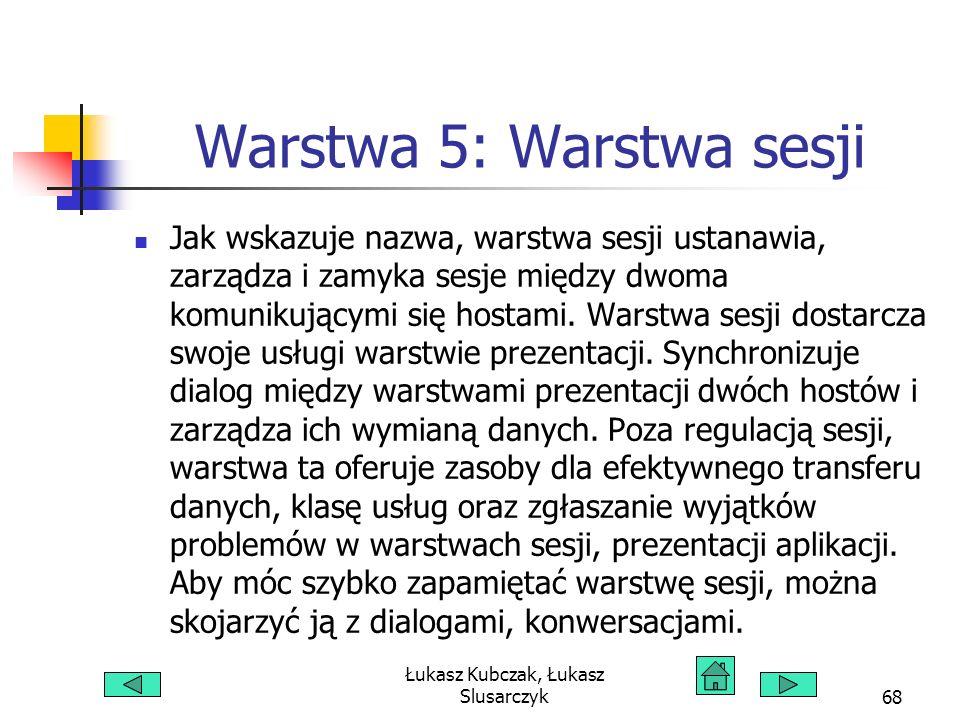 Łukasz Kubczak, Łukasz Slusarczyk68 Warstwa 5: Warstwa sesji Jak wskazuje nazwa, warstwa sesji ustanawia, zarządza i zamyka sesje między dwoma komunikującymi się hostami.