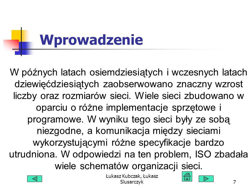 Łukasz Kubczak, Łukasz Slusarczyk18 Zaleta dzielenia danych na pakiety Transmisja danych w małych pakietach ma kilka zalet: Komputery w sieci mogą zamieniać się wymianą pakietów, dzięki temu jeden komputer wysyłający dużo danych nie zmonopolizuje pasma sieci.