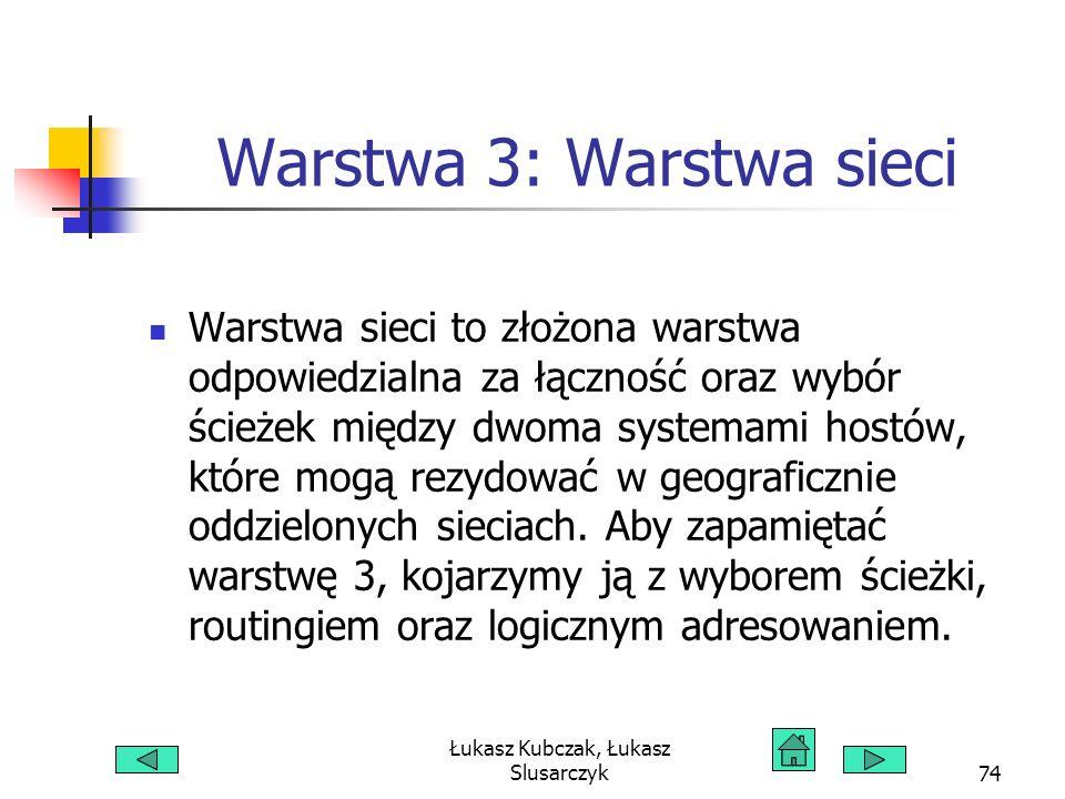 Łukasz Kubczak, Łukasz Slusarczyk74 Warstwa 3: Warstwa sieci Warstwa sieci to złożona warstwa odpowiedzialna za łączność oraz wybór ścieżek między dwoma systemami hostów, które mogą rezydować w geograficznie oddzielonych sieciach.