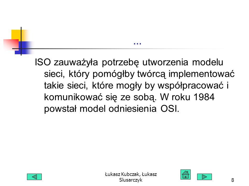 Łukasz Kubczak, Łukasz Slusarczyk59 Siedem warstw modelu OSI Warstwy wyższe Trzy wyższe warstwy modelu odniesienia OSI nazywane są Warstwami aplikacji.