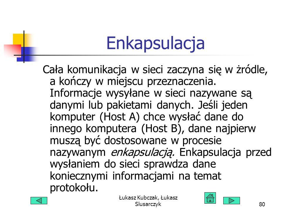 Łukasz Kubczak, Łukasz Slusarczyk80 Enkapsulacja Cała komunikacja w sieci zaczyna się w żródle, a kończy w miejscu przeznaczenia.