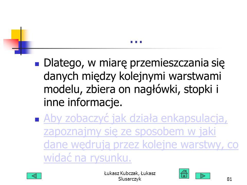 Łukasz Kubczak, Łukasz Slusarczyk81... Dlatego, w miarę przemieszczania się danych między kolejnymi warstwami modelu, zbiera on nagłówki, stopki i inn