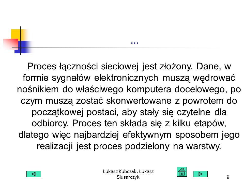 Łukasz Kubczak, Łukasz Slusarczyk60 Górne warstwy modelu OSI obsługują interfejs użytkownika, formatowanie danych oraz dostęp do informacji.