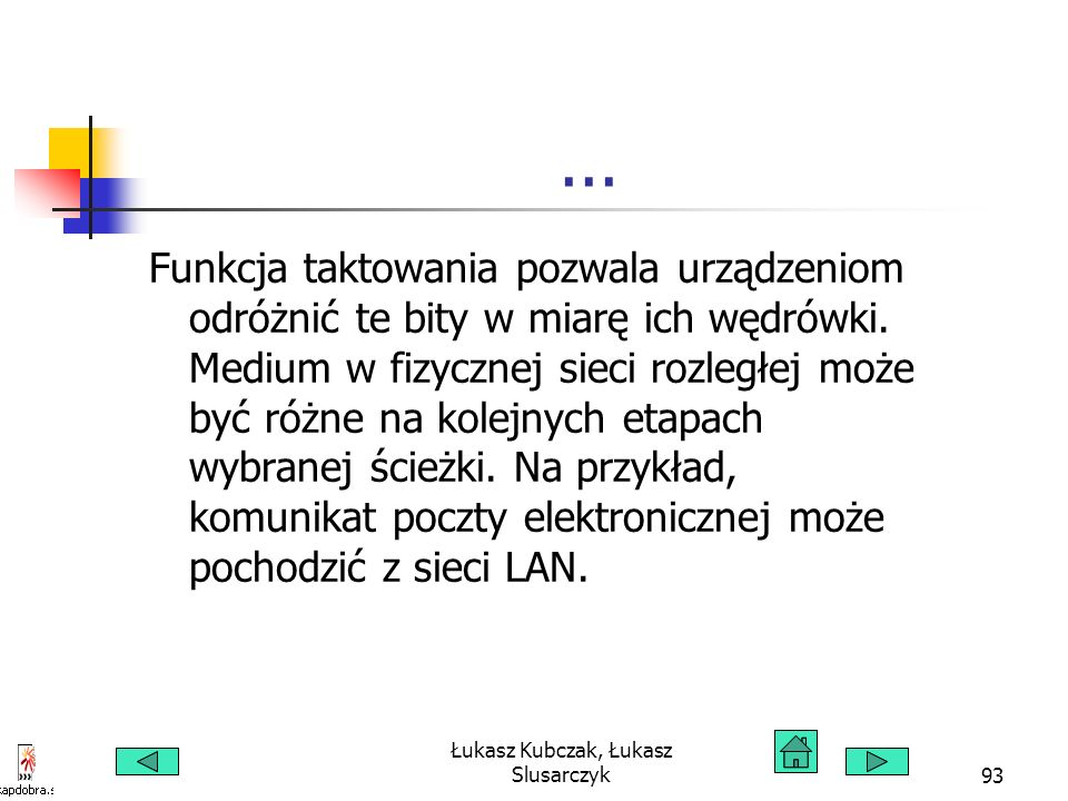 Łukasz Kubczak, Łukasz Slusarczyk93... Funkcja taktowania pozwala urządzeniom odróżnić te bity w miarę ich wędrówki. Medium w fizycznej sieci rozległe