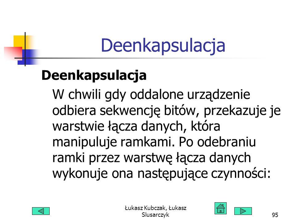 Łukasz Kubczak, Łukasz Slusarczyk95 Deenkapsulacja W chwili gdy oddalone urządzenie odbiera sekwencję bitów, przekazuje je warstwie łącza danych, któr