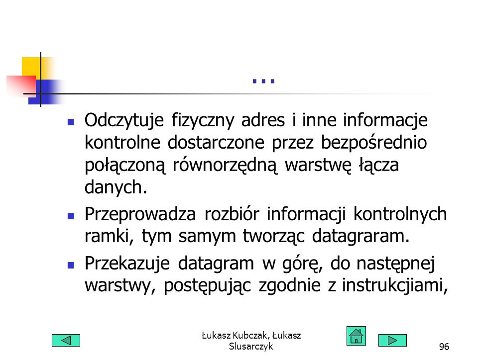 Łukasz Kubczak, Łukasz Slusarczyk96... Odczytuje fizyczny adres i inne informacje kontrolne dostarczone przez bezpośrednio połączoną równorzędną warst