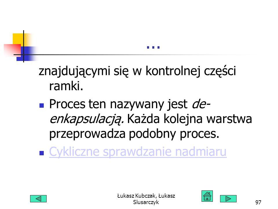 Łukasz Kubczak, Łukasz Slusarczyk97... znajdującymi się w kontrolnej części ramki. Proces ten nazywany jest de- enkapsulacją. Każda kolejna warstwa pr