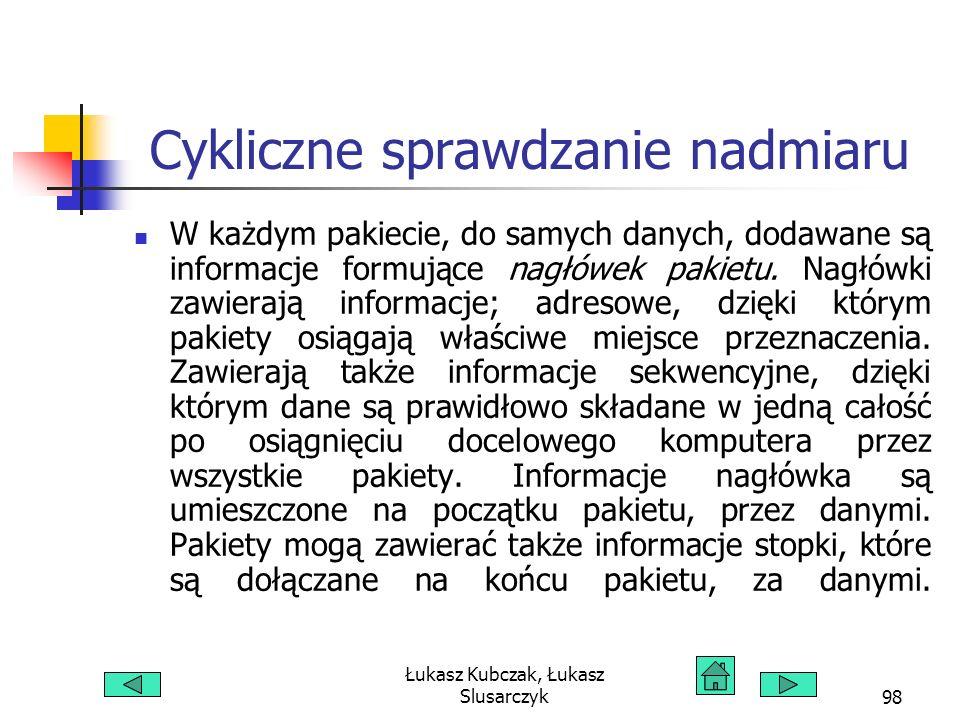 Łukasz Kubczak, Łukasz Slusarczyk98 Cykliczne sprawdzanie nadmiaru W każdym pakiecie, do samych danych, dodawane są informacje formujące nagłówek paki